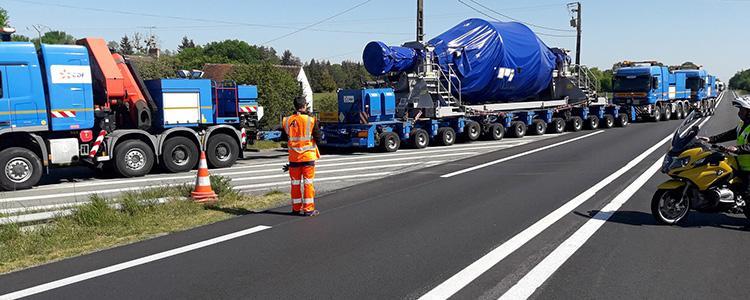 AB2 Signalisation a accompagné et œuvré pour le bon déroulement du trajet d'un convoi exceptionnel EDF