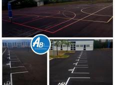 Nous avons réalisé un terrain de handball et deux terrains de basketball en résine thermocollée.